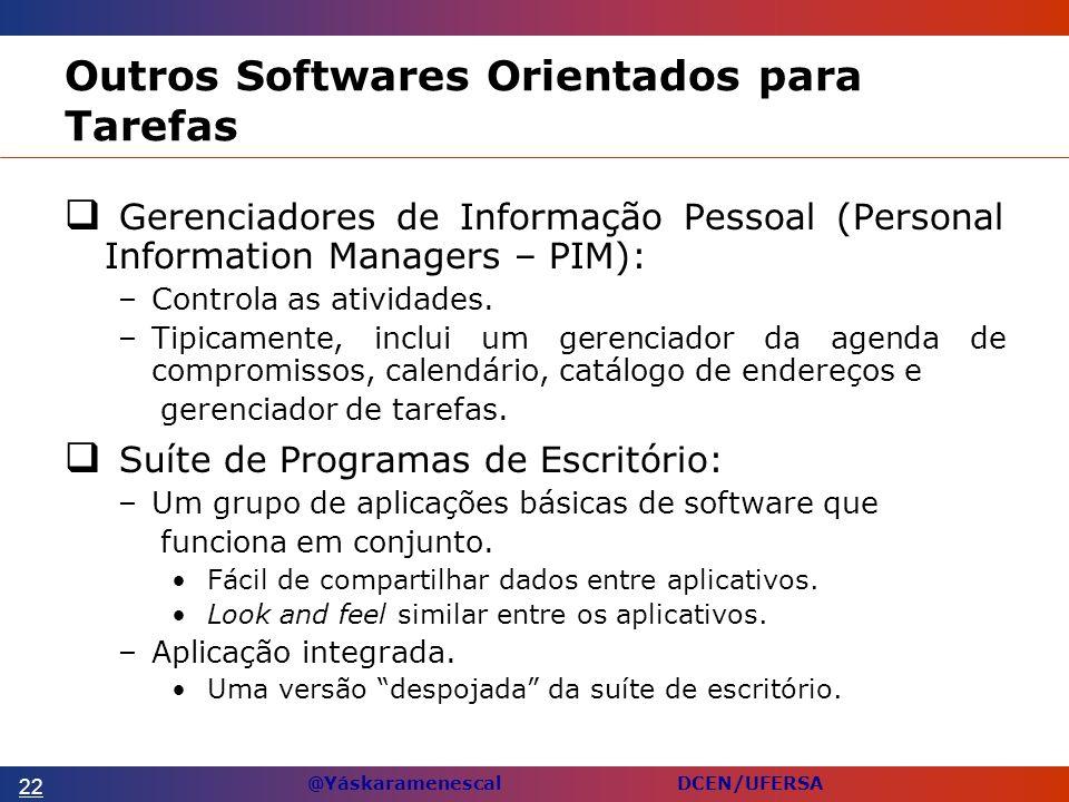@Yáskaramenescal DCEN/UFERSA Outros Softwares Orientados para Tarefas Gerenciadores de Informação Pessoal (Personal Information Managers – PIM): –Controla as atividades.