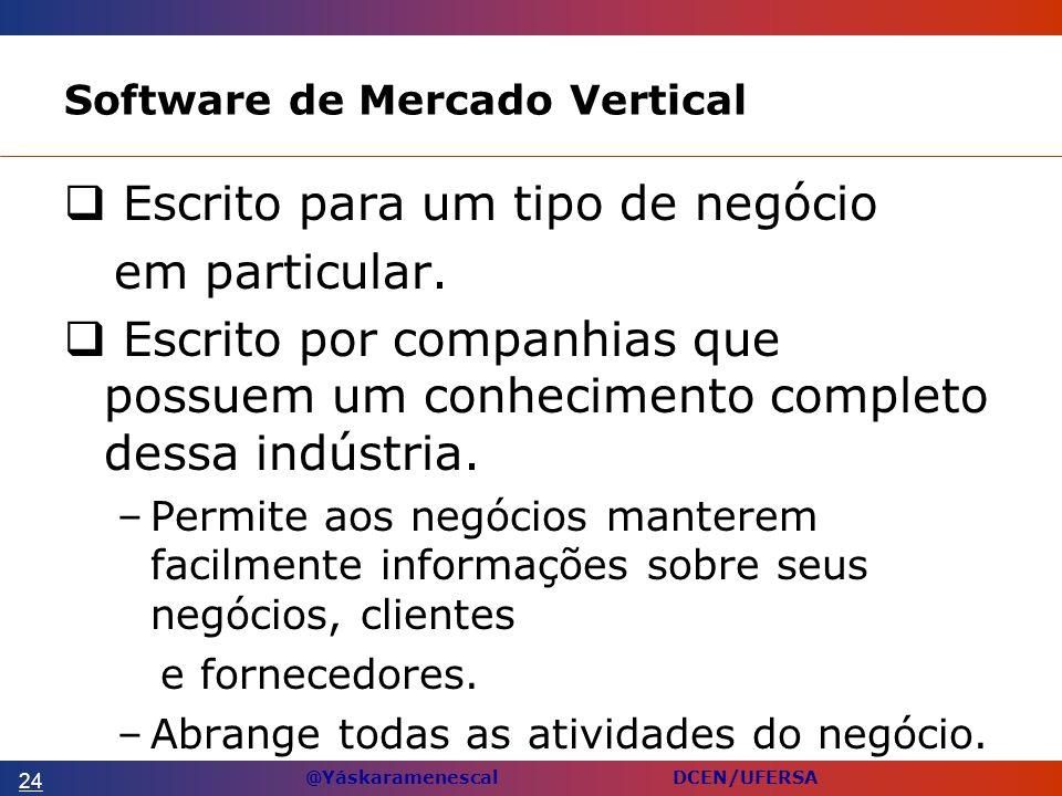 @Yáskaramenescal DCEN/UFERSA Software de Mercado Vertical Escrito para um tipo de negócio em particular.