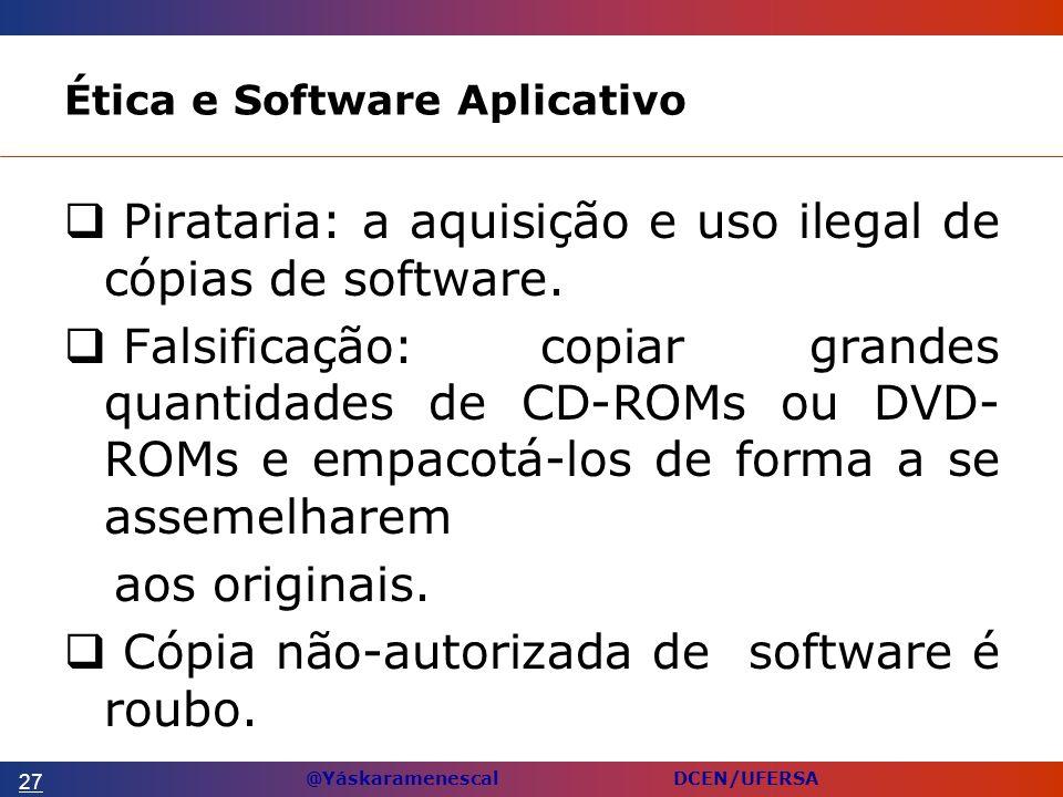 @Yáskaramenescal DCEN/UFERSA Ética e Software Aplicativo Pirataria: a aquisição e uso ilegal de cópias de software.