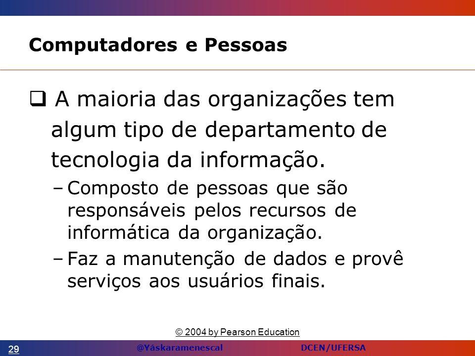 @Yáskaramenescal DCEN/UFERSA Computadores e Pessoas A maioria das organizações tem algum tipo de departamento de tecnologia da informação.