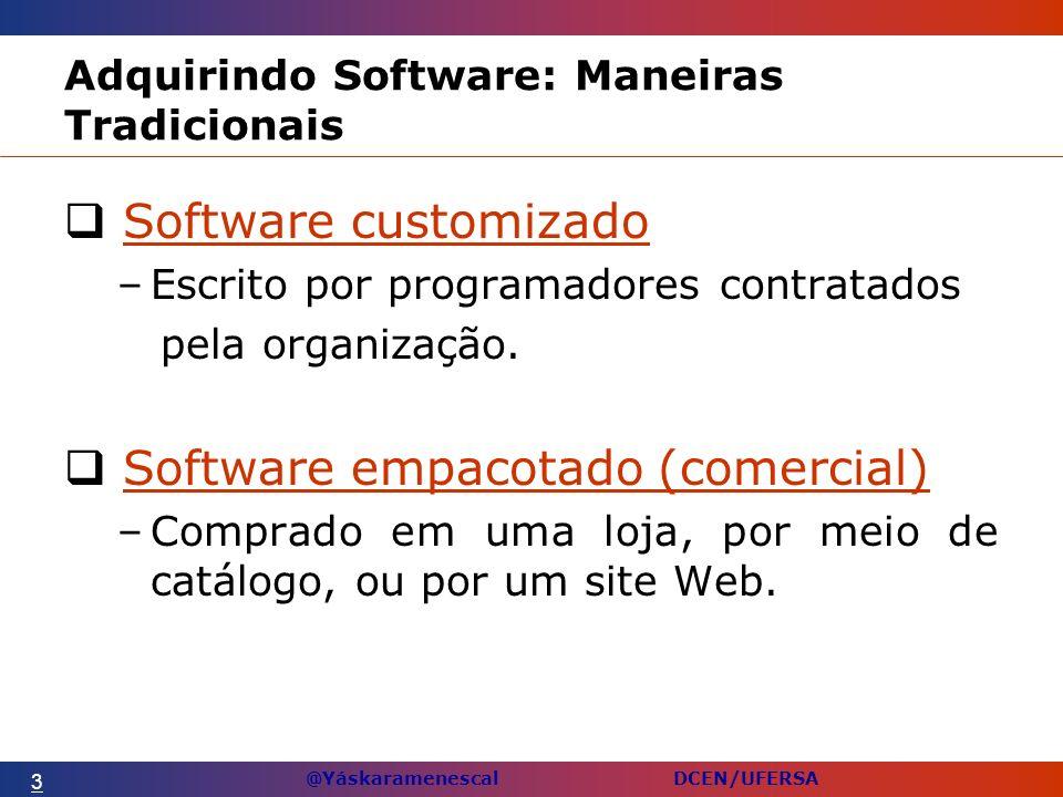 @Yáskaramenescal DCEN/UFERSA Adquirindo Software: Maneiras Tradicionais Software customizadoSoftware customizado –Escrito por programadores contratados pela organização.