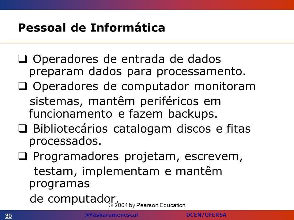 @Yáskaramenescal DCEN/UFERSA Pessoal de Informática Operadores de entrada de dados preparam dados para processamento.