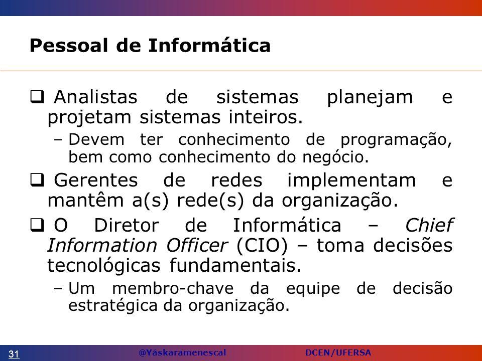 @Yáskaramenescal DCEN/UFERSA Pessoal de Informática Analistas de sistemas planejam e projetam sistemas inteiros.