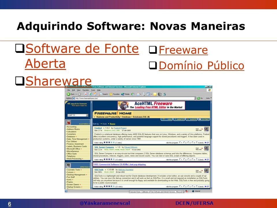 @Yáskaramenescal DCEN/UFERSA Adquirindo Software: Novas Maneiras Freeware Domínio Público 6 Software de Fonte Aberta Software de Fonte Aberta Shareware