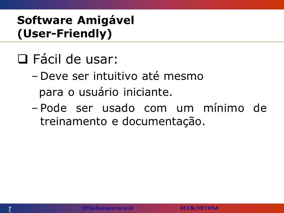 @Yáskaramenescal DCEN/UFERSA Software Amigável (User-Friendly) Fácil de usar: –Deve ser intuitivo até mesmo para o usuário iniciante.