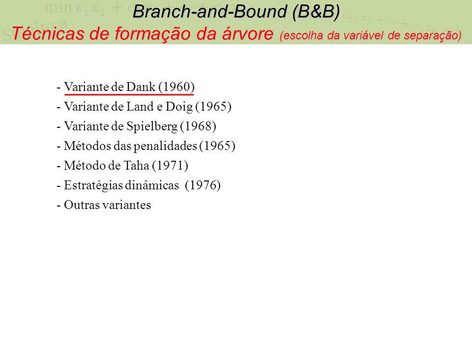 Branch-and-Bound (B&B) Técnicas de formação da árvore (escolha da variável de separação) - Variante de Dank (1960) - Variante de Land e Doig (1965) -