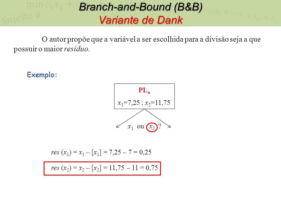 Branch-and-Bound (B&B) Variante de Dank PL n x 1 =7,25 ; x 2 =11,75 Exemplo: x 1 ou x 2 ? res (x 1 ) = x 1 – [x 1 ] = 7,25 – 7 = 0,25 res (x 2 ) = x 2