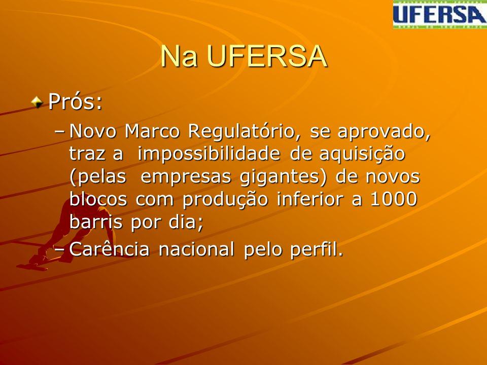 Na UFERSA Prós: –Novo Marco Regulatório, se aprovado, traz a impossibilidade de aquisição (pelas empresas gigantes) de novos blocos com produção inferior a 1000 barris por dia; –Carência nacional pelo perfil.