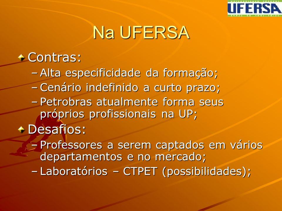 Na UFERSA Contras: –Alta especificidade da formação; –Cenário indefinido a curto prazo; –Petrobras atualmente forma seus próprios profissionais na UP; Desafios: –Professores a serem captados em vários departamentos e no mercado; –Laboratórios – CTPET (possibilidades);