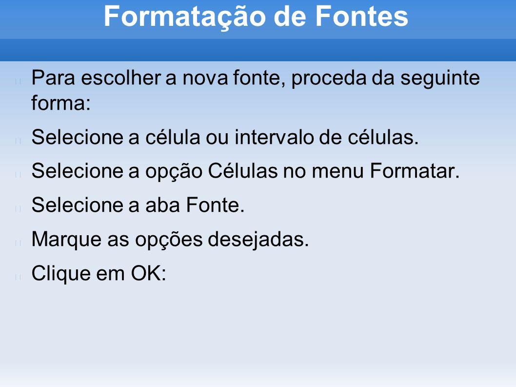 Formatação de Fontes Aba Efeitos de Fonte: