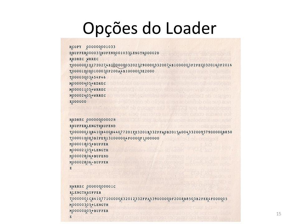 Opções do Loader 15