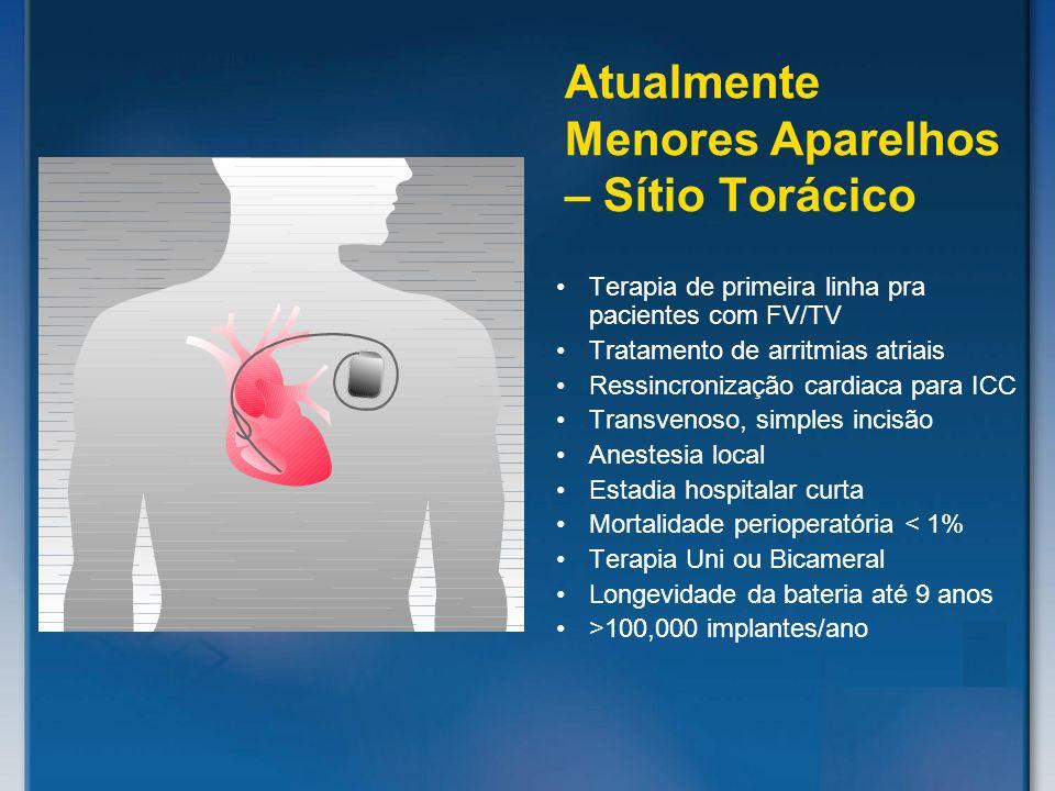 Terapia de primeira linha pra pacientes com FV/TV Tratamento de arritmias atriais Ressincronização cardiaca para ICC Transvenoso, simples incisão Anes