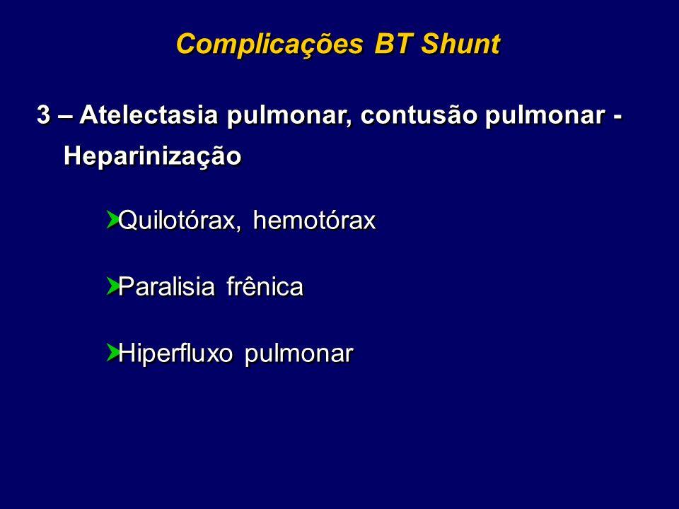 Complicações BT Shunt 3 – Atelectasia pulmonar, contusão pulmonar - Heparinização Quilotórax, hemotórax Paralisia frênica Hiperfluxo pulmonar 3 – Atel
