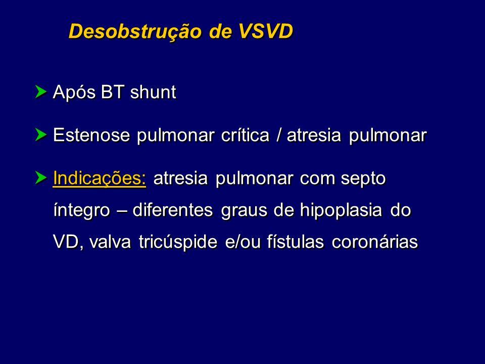 Desobstrução de VSVD Após BT shunt Estenose pulmonar crítica / atresia pulmonar Indicações: atresia pulmonar com septo íntegro – diferentes graus de h