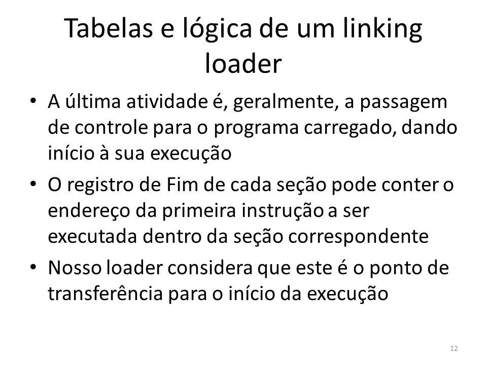 Tabelas e lógica de um linking loader A última atividade é, geralmente, a passagem de controle para o programa carregado, dando início à sua execução O registro de Fim de cada seção pode conter o endereço da primeira instrução a ser executada dentro da seção correspondente Nosso loader considera que este é o ponto de transferência para o início da execução 12