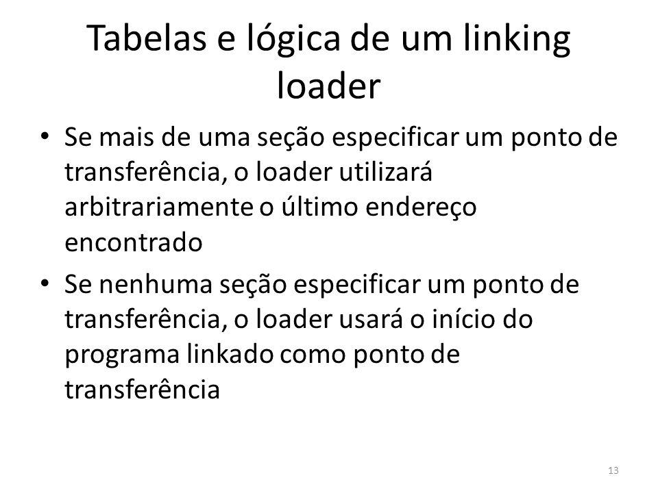 Tabelas e lógica de um linking loader Se mais de uma seção especificar um ponto de transferência, o loader utilizará arbitrariamente o último endereço encontrado Se nenhuma seção especificar um ponto de transferência, o loader usará o início do programa linkado como ponto de transferência 13