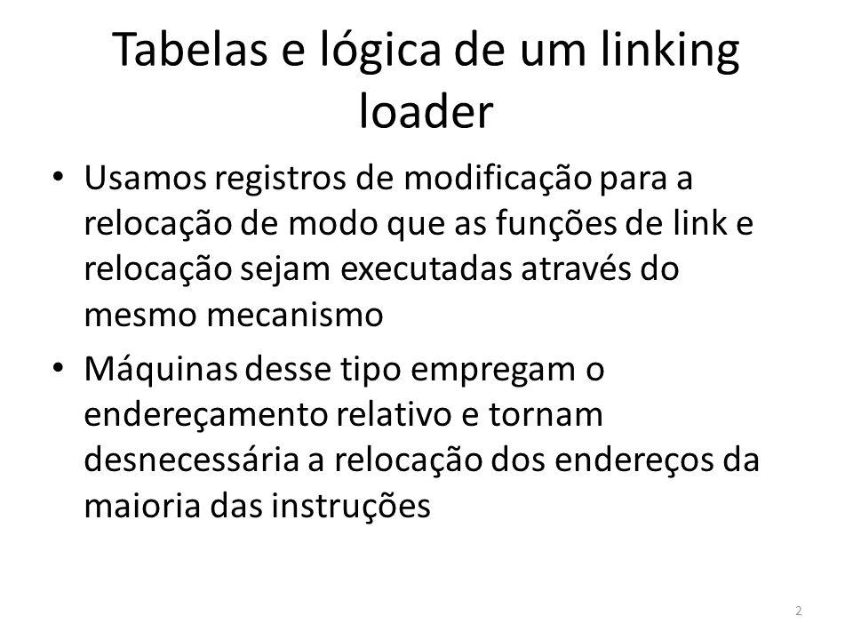 Tabelas e lógica de um linking loader Usamos registros de modificação para a relocação de modo que as funções de link e relocação sejam executadas atr