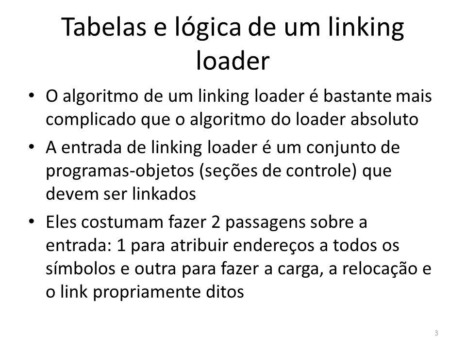 Tabelas e lógica de um linking loader O algoritmo de um linking loader é bastante mais complicado que o algoritmo do loader absoluto A entrada de linking loader é um conjunto de programas-objetos (seções de controle) que devem ser linkados Eles costumam fazer 2 passagens sobre a entrada: 1 para atribuir endereços a todos os símbolos e outra para fazer a carga, a relocação e o link propriamente ditos 3
