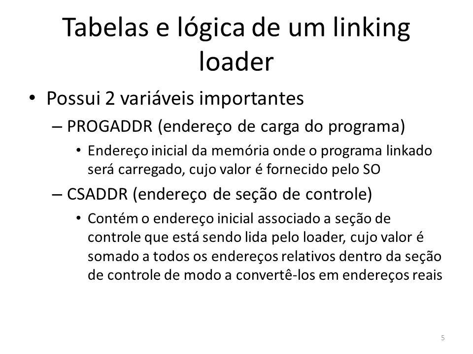 Tabelas e lógica de um linking loader Possui 2 variáveis importantes – PROGADDR (endereço de carga do programa) Endereço inicial da memória onde o programa linkado será carregado, cujo valor é fornecido pelo SO – CSADDR (endereço de seção de controle) Contém o endereço inicial associado a seção de controle que está sendo lida pelo loader, cujo valor é somado a todos os endereços relativos dentro da seção de controle de modo a convertê-los em endereços reais 5