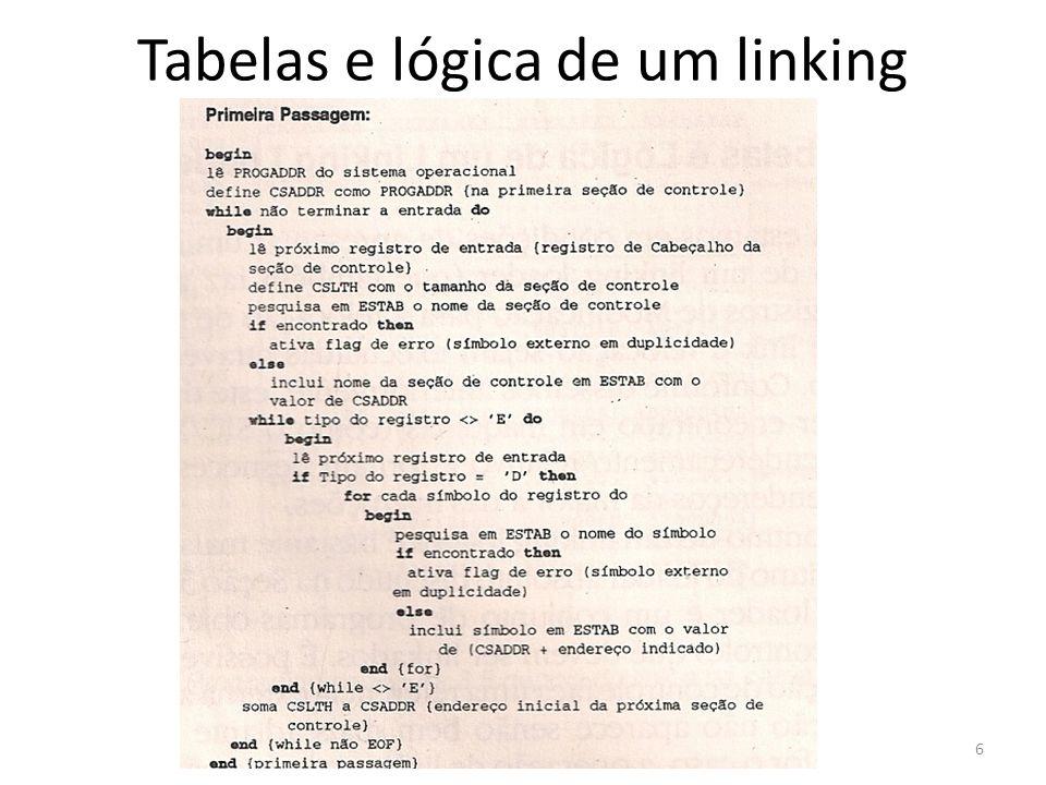 Tabelas e lógica de um linking loader 6