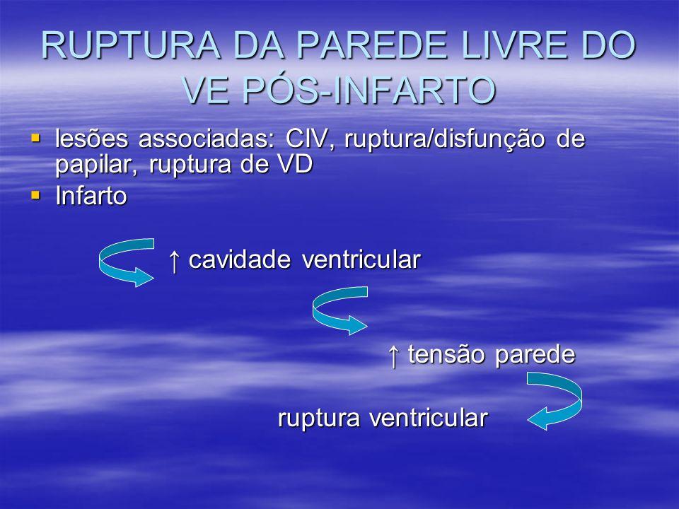 RUPTURA DA PAREDE LIVRE DO VE PÓS-INFARTO lesões associadas: CIV, ruptura/disfunção de papilar, ruptura de VD lesões associadas: CIV, ruptura/disfunçã