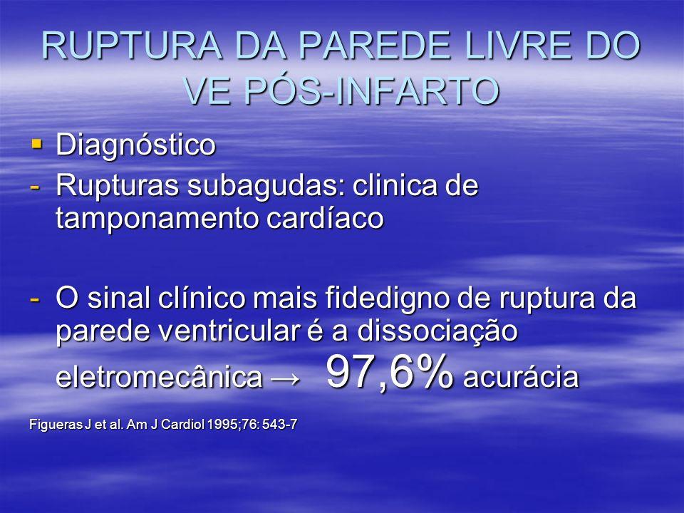 RUPTURA DA PAREDE LIVRE DO VE PÓS-INFARTO Diagnóstico Diagnóstico -Rupturas subagudas: clinica de tamponamento cardíaco -O sinal clínico mais fidedign