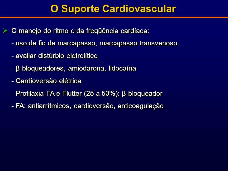 O Suporte Cardiovascular O manejo do ritmo e da freqüência cardíaca: O manejo do ritmo e da freqüência cardíaca: - uso de fio de marcapasso, marcapasso transvenoso - avaliar distúrbio eletrolítico - β-bloqueadores, amiodarona, lidocaína - Cardioversão elétrica - Profilaxia FA e Flutter (25 a 50%): β-bloqueador - FA: antiarrítmicos, cardioversão, anticoagulação O manejo do ritmo e da freqüência cardíaca: O manejo do ritmo e da freqüência cardíaca: - uso de fio de marcapasso, marcapasso transvenoso - avaliar distúrbio eletrolítico - β-bloqueadores, amiodarona, lidocaína - Cardioversão elétrica - Profilaxia FA e Flutter (25 a 50%): β-bloqueador - FA: antiarrítmicos, cardioversão, anticoagulação