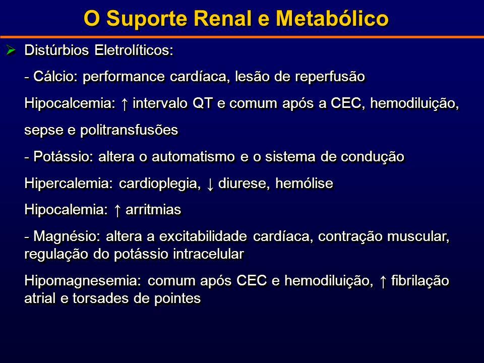 O Suporte Renal e Metabólico Distúrbios Eletrolíticos: Distúrbios Eletrolíticos: - Cálcio: performance cardíaca, lesão de reperfusão Hipocalcemia: intervalo QT e comum após a CEC, hemodiluição, sepse e politransfusões - Potássio: altera o automatismo e o sistema de condução Hipercalemia: cardioplegia, diurese, hemólise Hipocalemia: arritmias - Magnésio: altera a excitabilidade cardíaca, contração muscular, regulação do potássio intracelular Hipomagnesemia: comum após CEC e hemodiluição, fibrilação atrial e torsades de pointes Distúrbios Eletrolíticos: Distúrbios Eletrolíticos: - Cálcio: performance cardíaca, lesão de reperfusão Hipocalcemia: intervalo QT e comum após a CEC, hemodiluição, sepse e politransfusões - Potássio: altera o automatismo e o sistema de condução Hipercalemia: cardioplegia, diurese, hemólise Hipocalemia: arritmias - Magnésio: altera a excitabilidade cardíaca, contração muscular, regulação do potássio intracelular Hipomagnesemia: comum após CEC e hemodiluição, fibrilação atrial e torsades de pointes