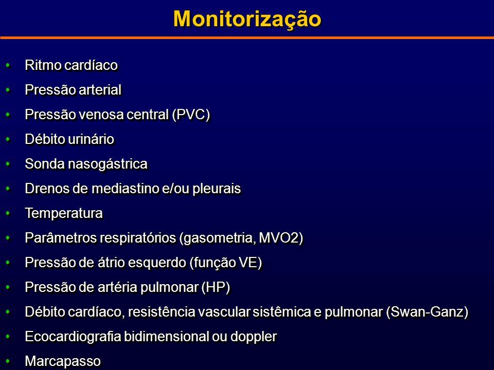 Monitorização Ritmo cardíacoRitmo cardíaco Pressão arterialPressão arterial Pressão venosa central (PVC)Pressão venosa central (PVC) Débito urinárioDébito urinário Sonda nasogástricaSonda nasogástrica Drenos de mediastino e/ou pleuraisDrenos de mediastino e/ou pleurais TemperaturaTemperatura Parâmetros respiratórios (gasometria, MVO2)Parâmetros respiratórios (gasometria, MVO2) Pressão de átrio esquerdo (função VE)Pressão de átrio esquerdo (função VE) Pressão de artéria pulmonar (HP)Pressão de artéria pulmonar (HP) Débito cardíaco, resistência vascular sistêmica e pulmonar (Swan-Ganz)Débito cardíaco, resistência vascular sistêmica e pulmonar (Swan-Ganz) Ecocardiografia bidimensional ou dopplerEcocardiografia bidimensional ou doppler MarcapassoMarcapasso Ritmo cardíacoRitmo cardíaco Pressão arterialPressão arterial Pressão venosa central (PVC)Pressão venosa central (PVC) Débito urinárioDébito urinário Sonda nasogástricaSonda nasogástrica Drenos de mediastino e/ou pleuraisDrenos de mediastino e/ou pleurais TemperaturaTemperatura Parâmetros respiratórios (gasometria, MVO2)Parâmetros respiratórios (gasometria, MVO2) Pressão de átrio esquerdo (função VE)Pressão de átrio esquerdo (função VE) Pressão de artéria pulmonar (HP)Pressão de artéria pulmonar (HP) Débito cardíaco, resistência vascular sistêmica e pulmonar (Swan-Ganz)Débito cardíaco, resistência vascular sistêmica e pulmonar (Swan-Ganz) Ecocardiografia bidimensional ou dopplerEcocardiografia bidimensional ou doppler MarcapassoMarcapasso