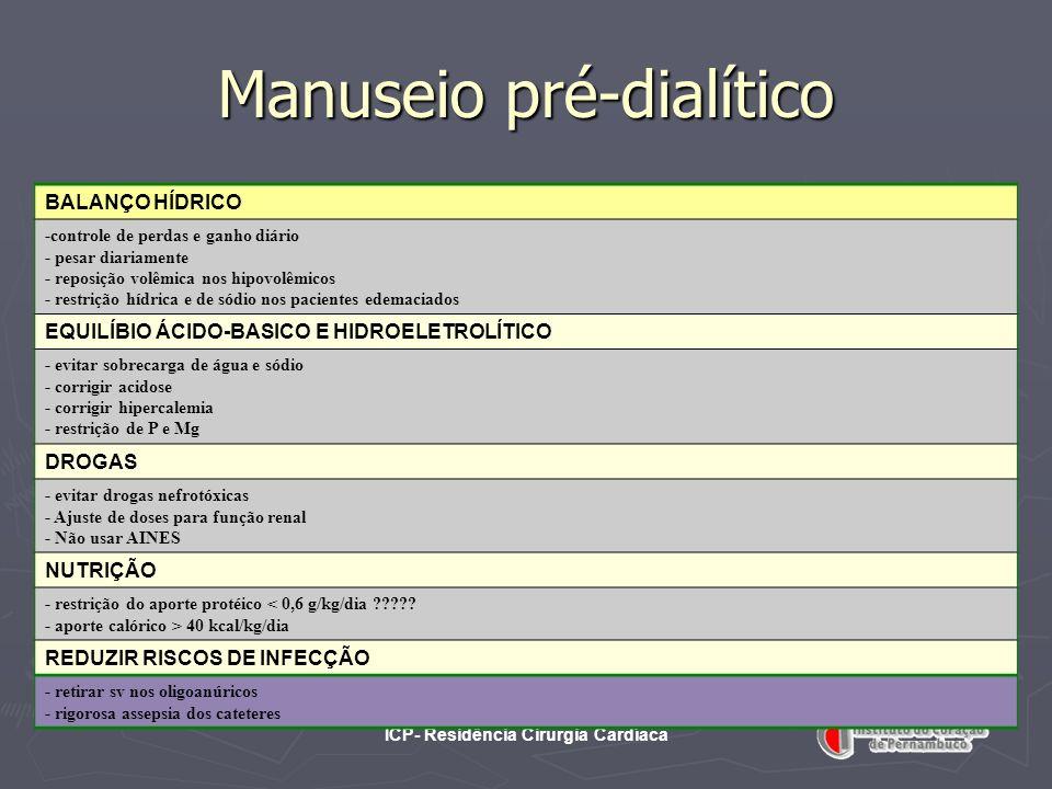 Manuseio pré-dialítico BALANÇO HÍDRICO -controle de perdas e ganho diário - pesar diariamente - reposição volêmica nos hipovolêmicos - restrição hídri