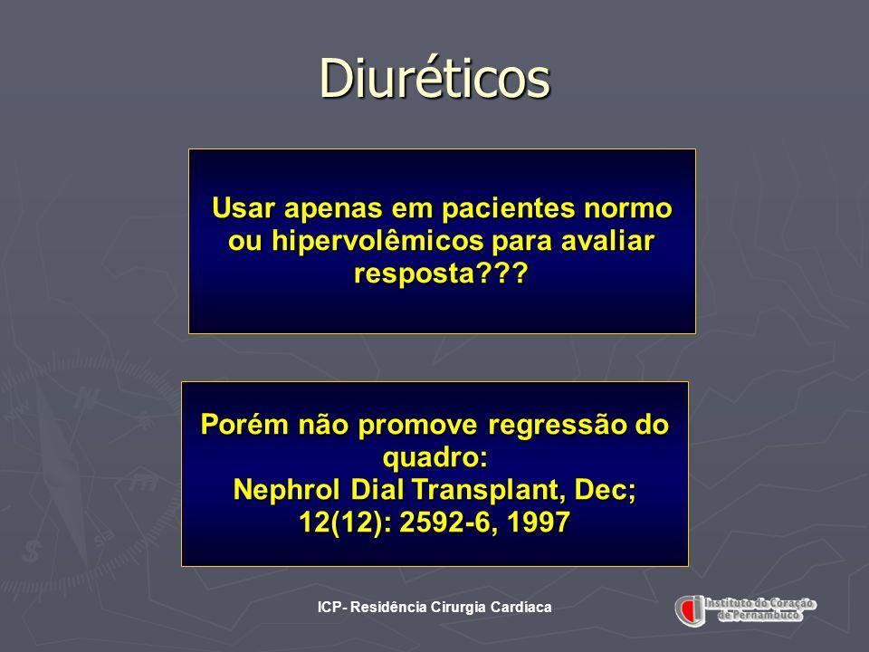 ICP- Residência Cirurgia Cardíaca Diuréticos Usar apenas em pacientes normo ou hipervolêmicos para avaliar resposta??? Porém não promove regressão do