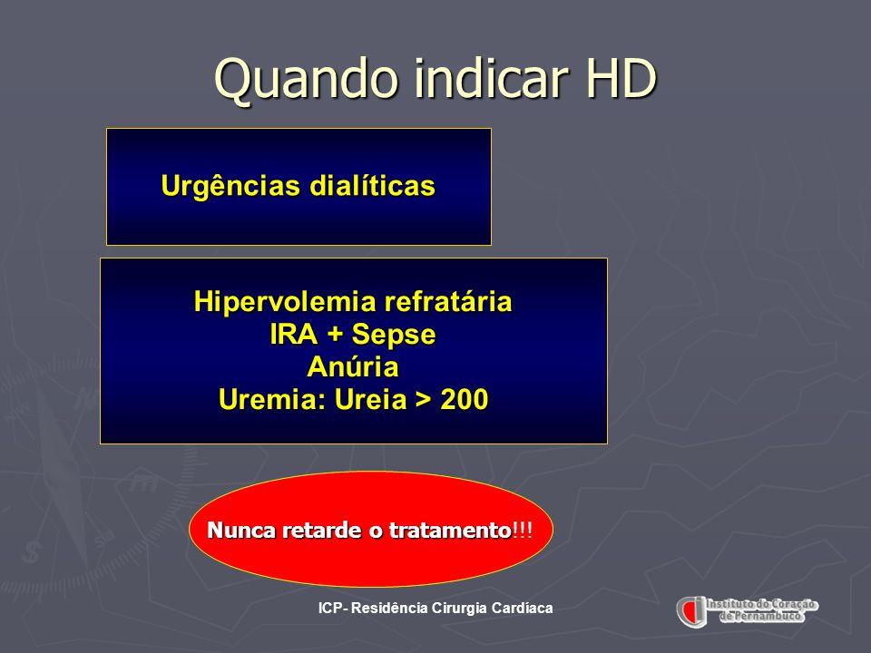 ICP- Residência Cirurgia Cardíaca Quando indicar HD Urgências dialíticas Hipervolemia refratária IRA + Sepse Anúria Uremia: Ureia > 200 Nunca retarde