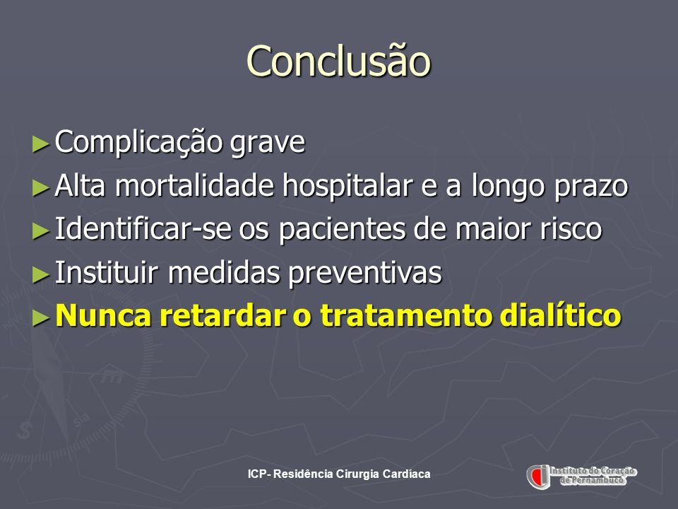 ICP- Residência Cirurgia Cardíaca Conclusão Complicação grave Complicação grave Alta mortalidade hospitalar e a longo prazo Alta mortalidade hospitala
