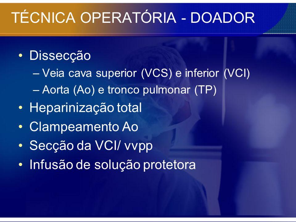 TÉCNICA OPERATÓRIA - DOADOR Dissecção –Veia cava superior (VCS) e inferior (VCI) –Aorta (Ao) e tronco pulmonar (TP) Heparinização total Clampeamento A
