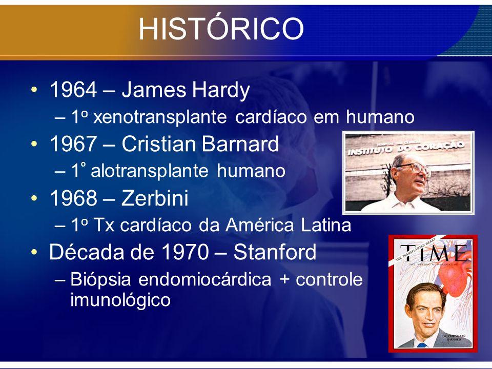 HISTÓRICO 1964 – James Hardy –1 o xenotransplante cardíaco em humano 1967 – Cristian Barnard –1 º alotransplante humano 1968 – Zerbini –1 o Tx cardíac