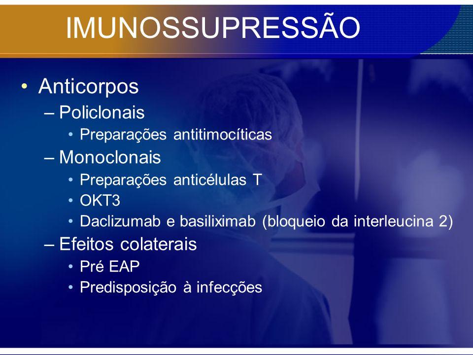 IMUNOSSUPRESSÃO Anticorpos –Policlonais Preparações antitimocíticas –Monoclonais Preparações anticélulas T OKT3 Daclizumab e basiliximab (bloqueio da