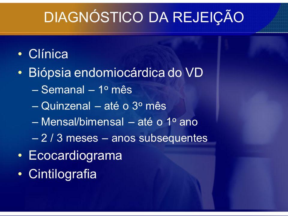DIAGNÓSTICO DA REJEIÇÃO Clínica Biópsia endomiocárdica do VD –Semanal – 1 o mês –Quinzenal – até o 3 o mês –Mensal/bimensal – até o 1 o ano –2 / 3 mes