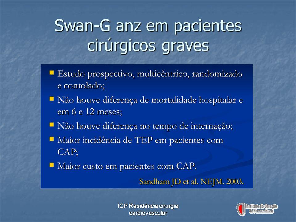 ICP Residência cirurgia cardiovascular Swan-G anz em pacientes cirúrgicos graves