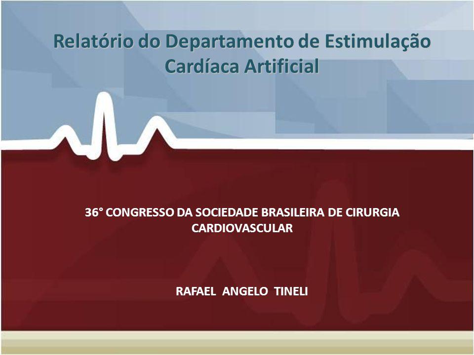 Relatório do Departamento de Estimulação Cardíaca Artificial Relatório do Departamento de Estimulação Cardíaca Artificial 36° CONGRESSO DA SOCIEDADE B