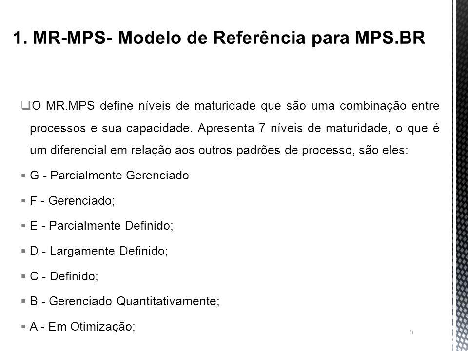 O MR.MPS define níveis de maturidade que são uma combinação entre processos e sua capacidade.