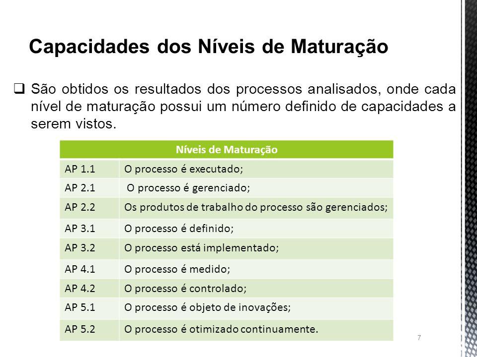 7 São obtidos os resultados dos processos analisados, onde cada nível de maturação possui um número definido de capacidades a serem vistos.