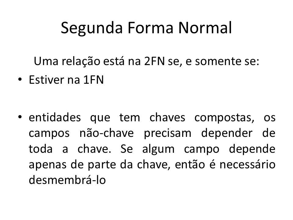 Segunda Forma Normal Uma relação está na 2FN se, e somente se: Estiver na 1FN entidades que tem chaves compostas, os campos não-chave precisam depende