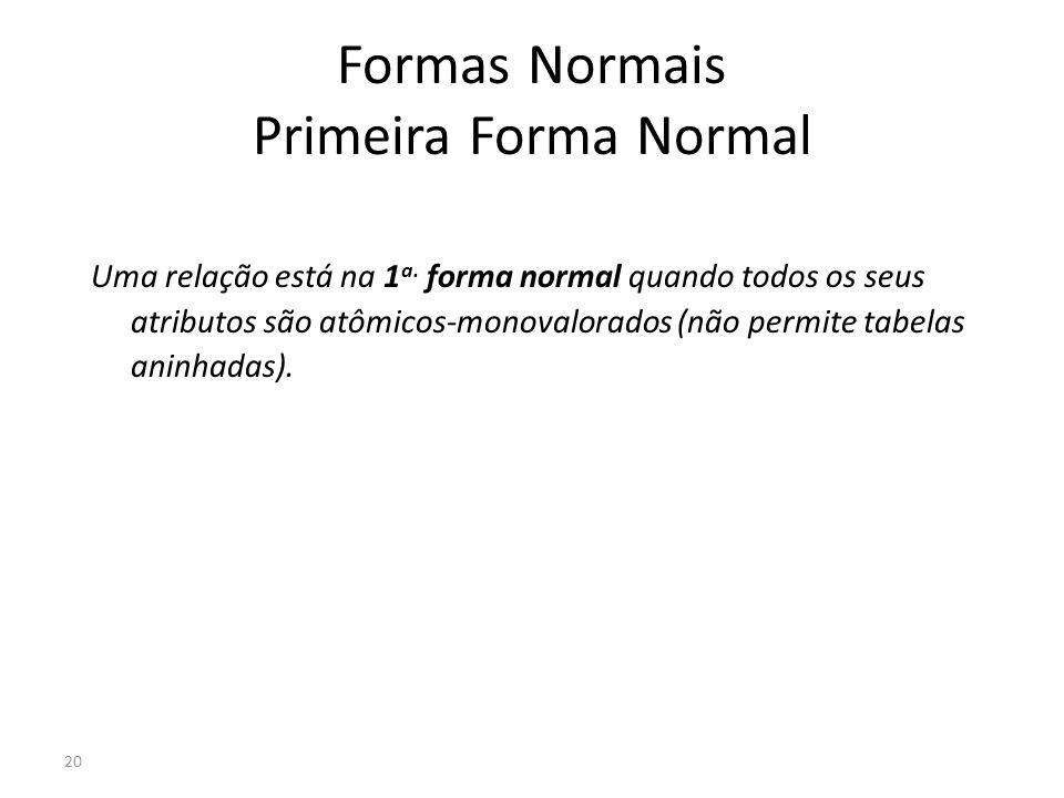 20 Formas Normais Primeira Forma Normal Uma relação está na 1 a. forma normal quando todos os seus atributos são atômicos-monovalorados (não permite t