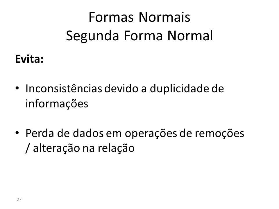 27 Formas Normais Segunda Forma Normal Evita: Inconsistências devido a duplicidade de informações Perda de dados em operações de remoções / alteração