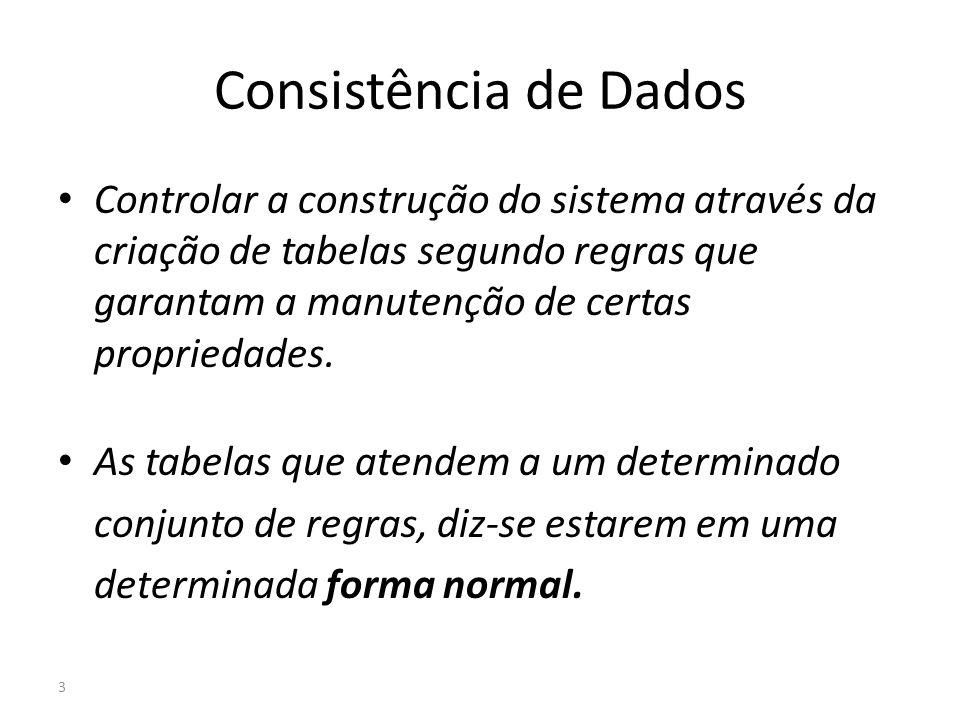 3 Consistência de Dados Controlar a construção do sistema através da criação de tabelas segundo regras que garantam a manutenção de certas propriedade