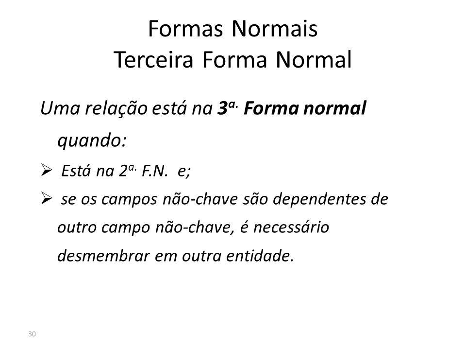 30 Formas Normais Terceira Forma Normal Uma relação está na 3 a. Forma normal quando: Está na 2 a. F.N. e; se os campos não-chave são dependentes de o