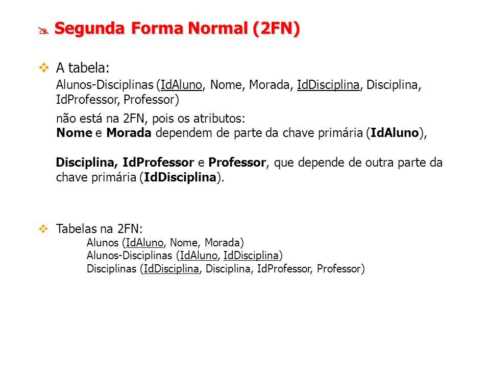 Segunda Forma Normal (2FN) Segunda Forma Normal (2FN) A tabela: Alunos-Disciplinas (IdAluno, Nome, Morada, IdDisciplina, Disciplina, IdProfessor, Prof