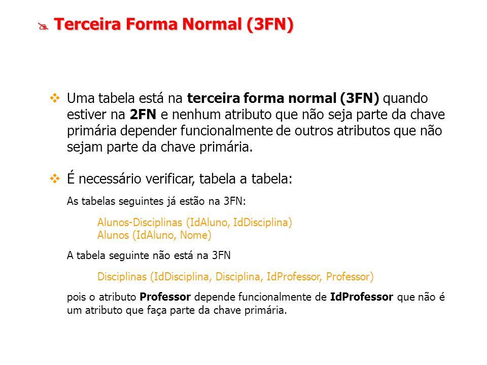 Terceira Forma Normal (3FN) Terceira Forma Normal (3FN) Uma tabela está na terceira forma normal (3FN) quando estiver na 2FN e nenhum atributo que não