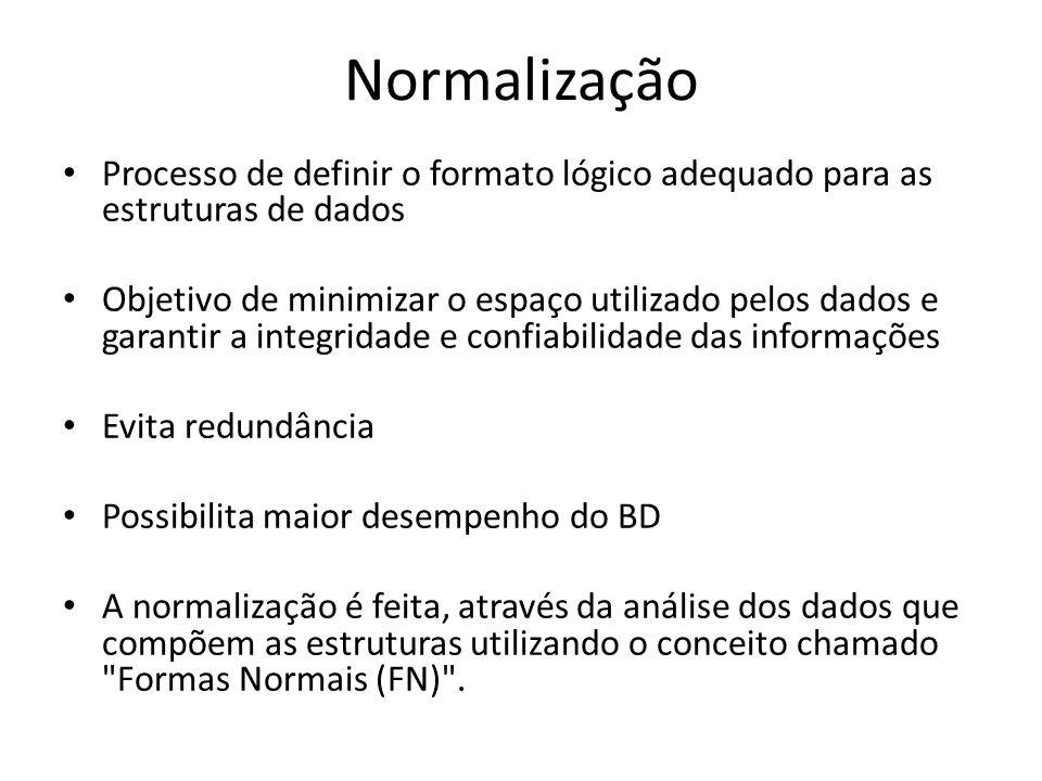 Normalização Processo de definir o formato lógico adequado para as estruturas de dados Objetivo de minimizar o espaço utilizado pelos dados e garantir