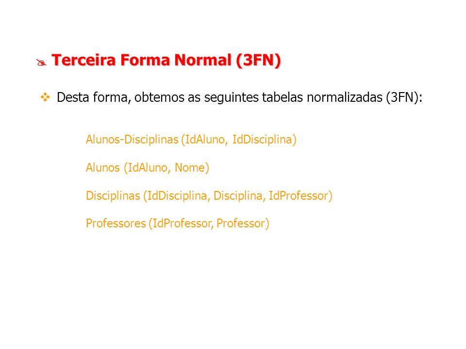 Terceira Forma Normal (3FN) Terceira Forma Normal (3FN) Desta forma, obtemos as seguintes tabelas normalizadas (3FN): Alunos-Disciplinas (IdAluno, IdD